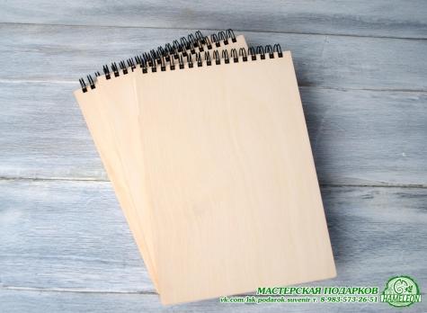 Блокнот А5 с деревянной обложкой.