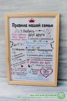 """Постер """"Правила семьи"""" с фотормакой. Формат А4"""